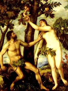 "Adam & Eve displaying their ""his and hers"" matching branches but with Eve in temptress mode plucking an erogenous apple"