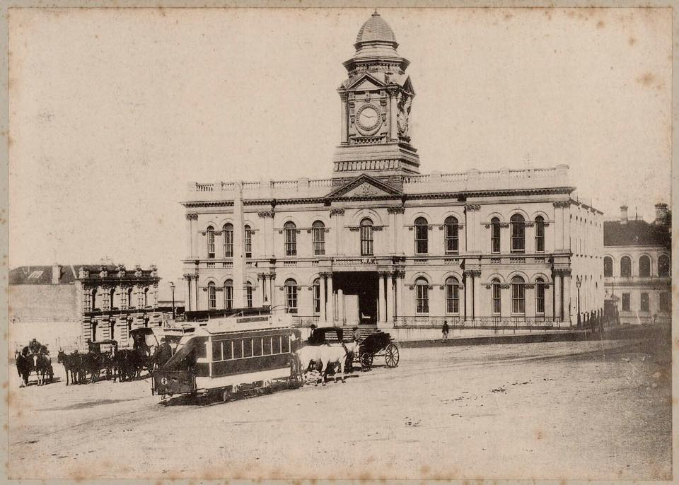 Town Hall in early 1900's with horse drawn trams