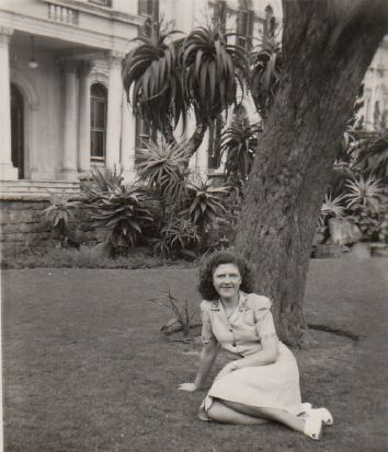 My mother, Eunice Letitia McCleland sitting on the lawn outside the City Hall