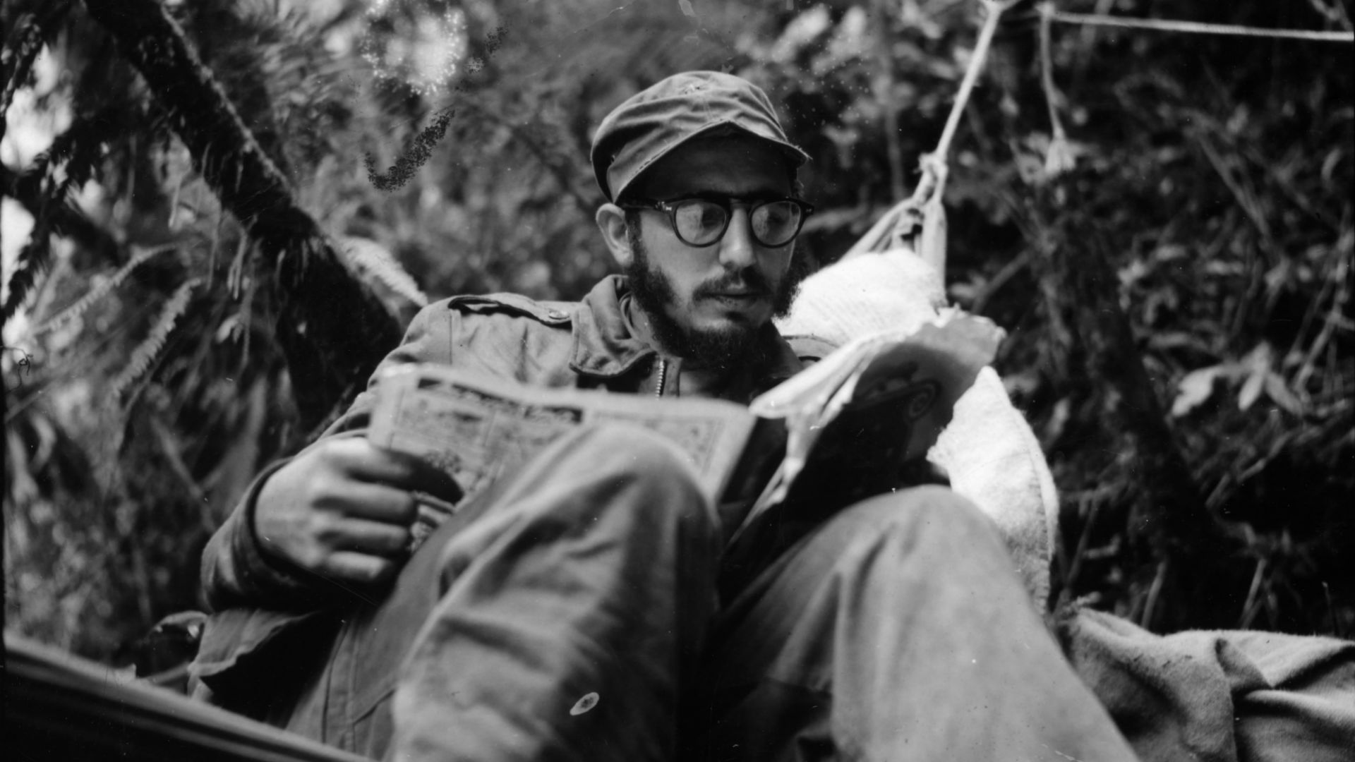 Fidel Castro at an outpost in the Sierra Maestra Mountain before the overthrow of the Batista Regime