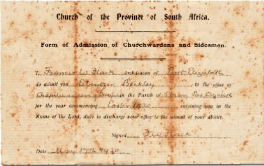 Form of Admission of Church Wardens