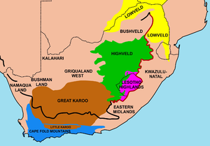 Important geographical regions in South Africa