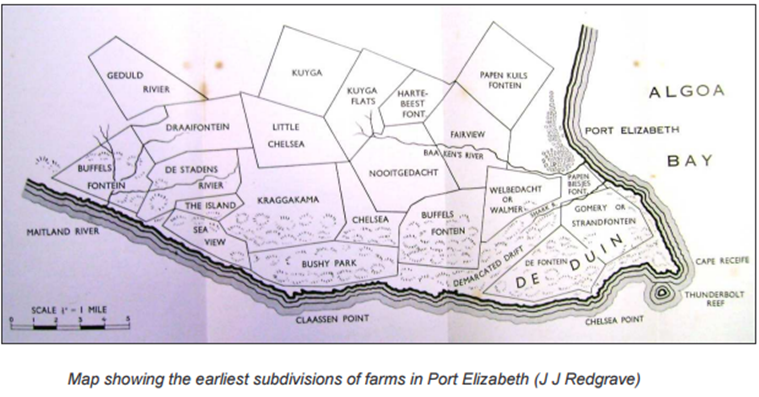 Map showing the earliest subdivisions of farms in Port Elizabeth (J J Redgrave)