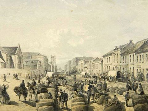 Market Square-lithograph by Thomas Bowler