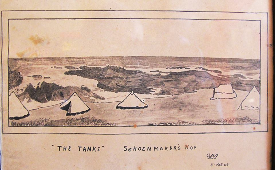 Old drawing of the original campsite at the Tanks in Schoenmakerskop dated 1908 by Arthur Braidwood Gibbon.
