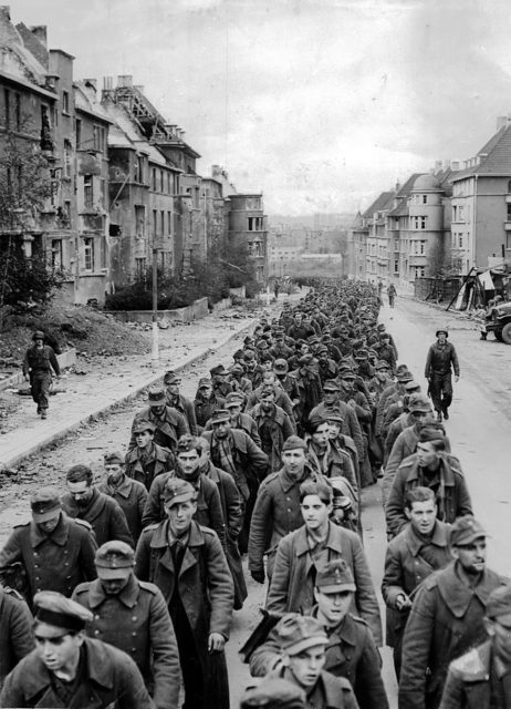 Some of the German soldiers who were captured during the Battle of Aachen in October 1944