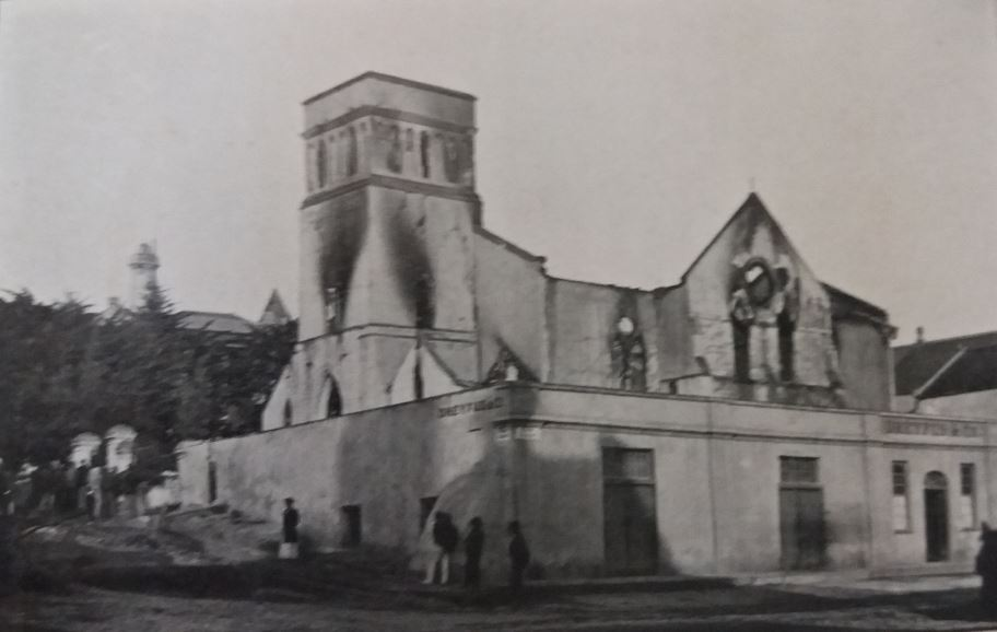 St Mary's Church in 1895, the morning after it was burnt down