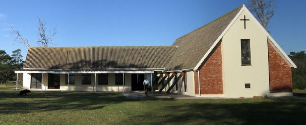 The church showing the new kitchen and the Sunday school extension