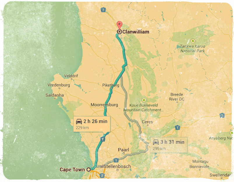 Route from Clanwilliam to Cape Town