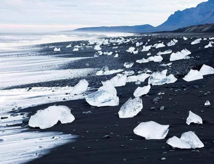 A black sand beach in Iceland