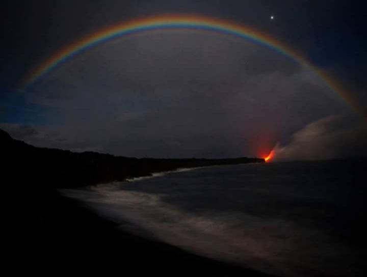 A night time rainbow or Moonbow