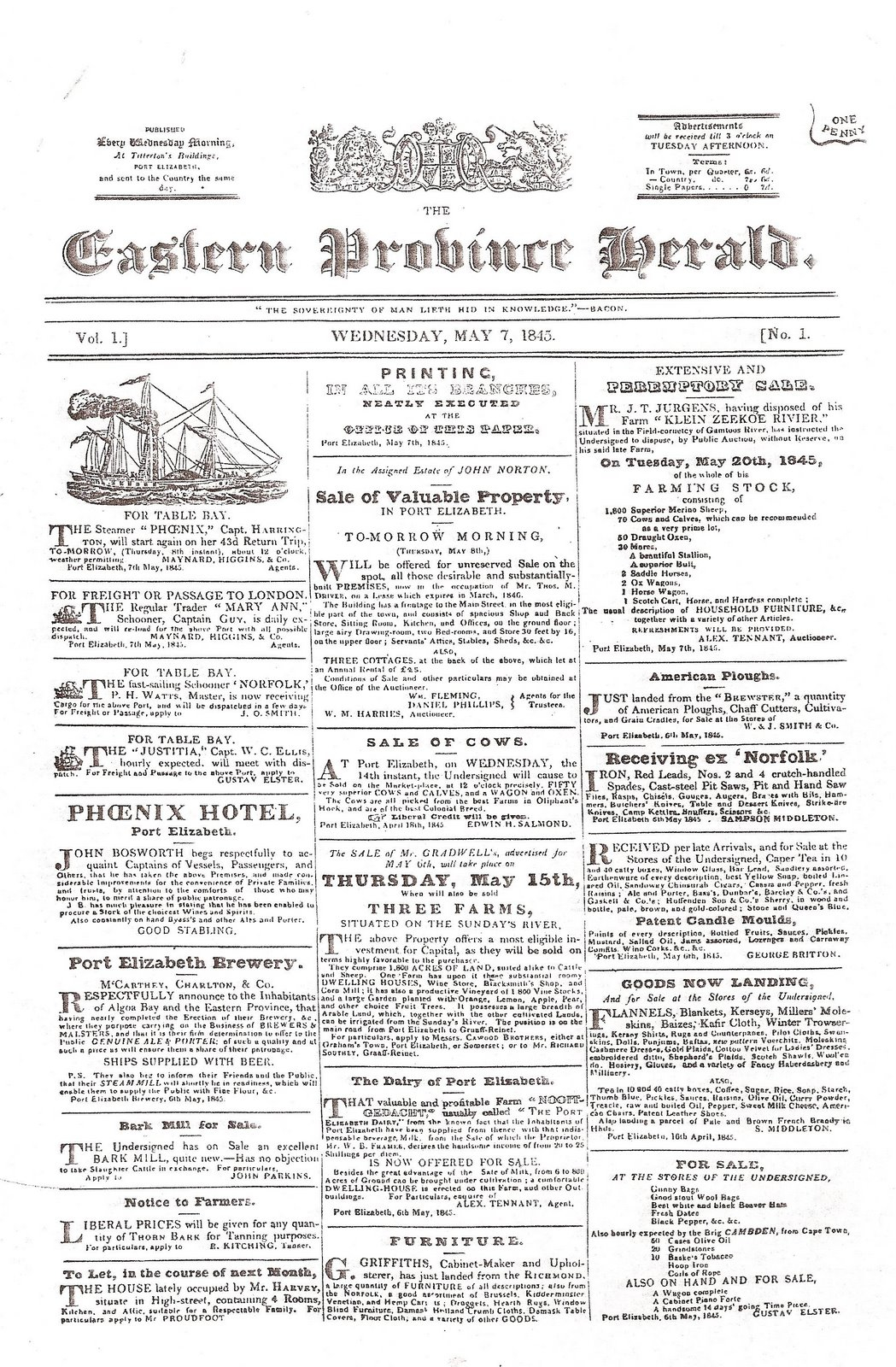 First issue of the E.P. Herald