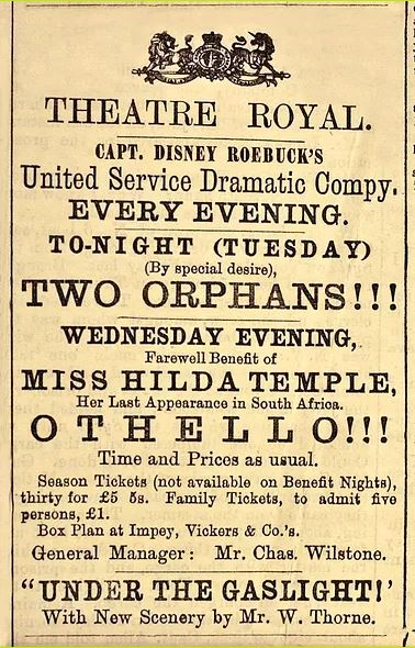 Advert for a Farewell Benefit for Hilda Temple's appearance in Othello was published in the Eastern Province Herald on December 12, 1876