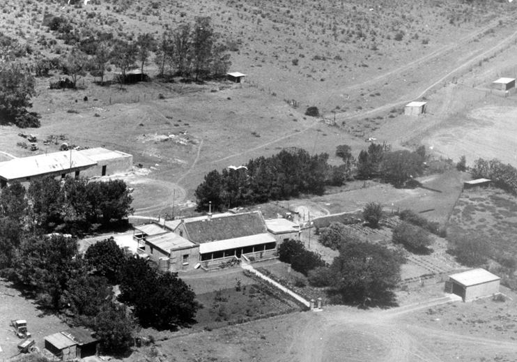 Aerial view of Preston Park house (Boplaas) in the 1950s