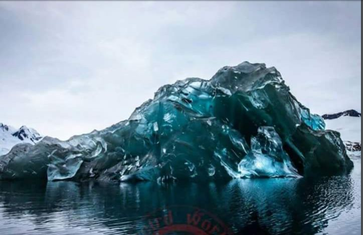 An extremely rare iceberg in Antartica which has flipped over