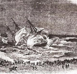 Charlotte, Algoa Bay carrying the 27th Regiment driven ashore near Jetty Street Port Elizabeth 19 September 1854