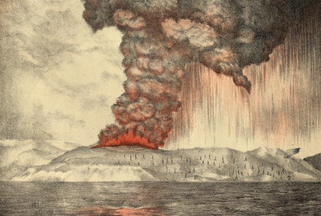 Contemporary drawing of Krakatau