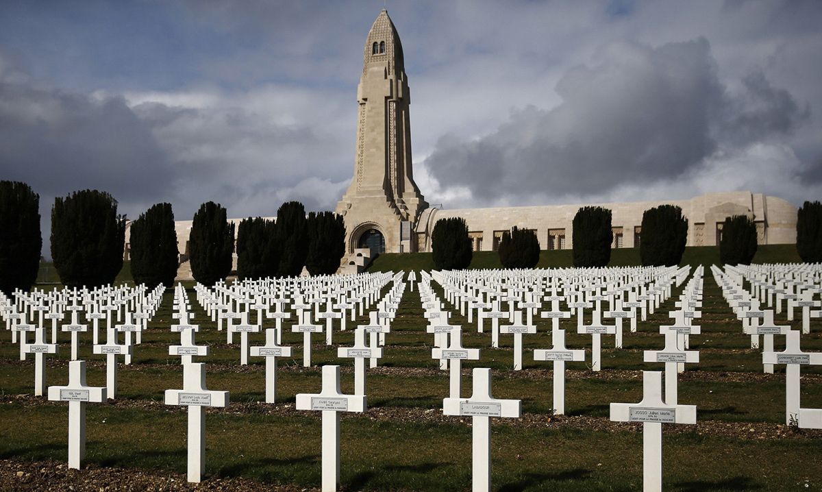 Crosses stand at the WWI Douaumont ossuary near Verdun, France, on March 4, 2014