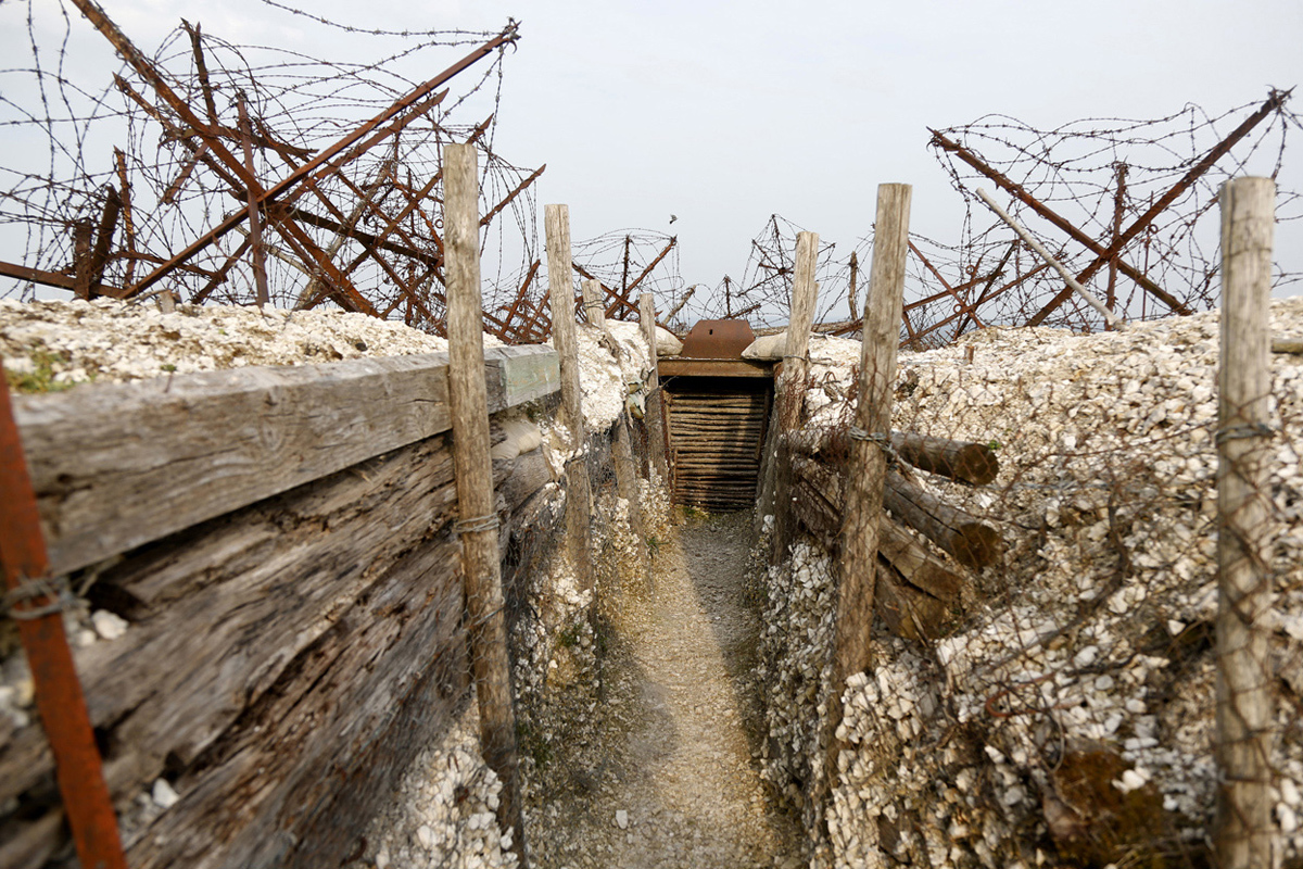 Inside view of a WWI trench at Massiges, northeastern France