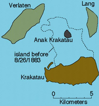 Map showing the remnant of Rakata Island (now called Krakatau Island) after the 1983 explosion and collapse and the new volcano of Anak Krakatau that subsequently emerged from Krakatau's sunken c