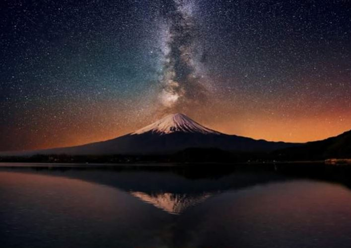 Mount Fiji and the Milky Way