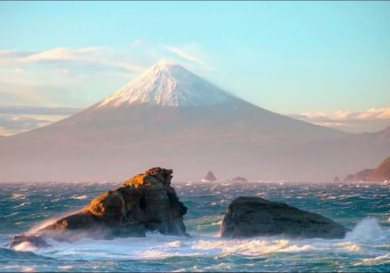 Mount Fuji in Japan as seen from the sea
