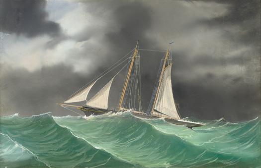 Schooner in a storm