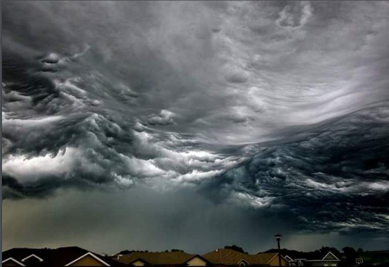 Sky looking like a rough sea