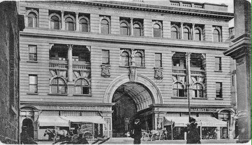 The Old Mutual Arcade circa 1904 showing shops at ground level in Main Street