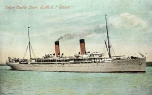 The RMS Saxon Castle was the first ship to carry airmail collected in South Africa. During WW1 it was requisitioned as a troop ship