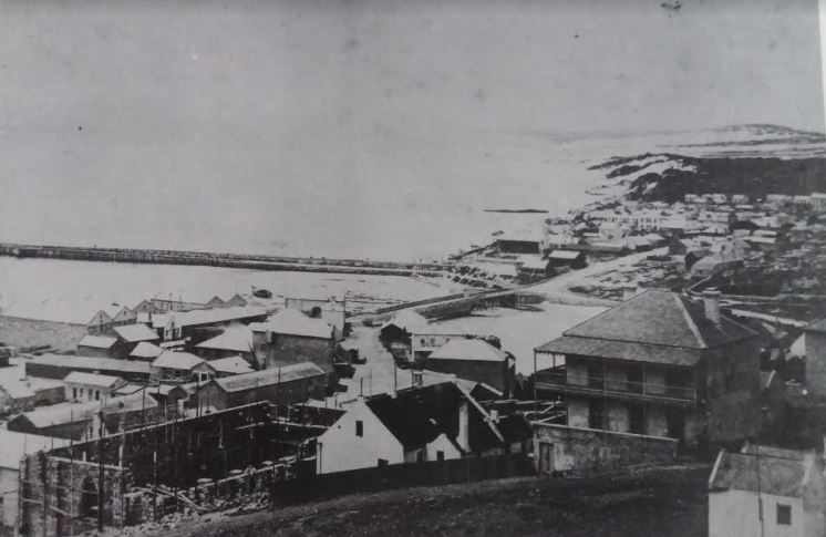 The breakwater circa 1866 from the Donkin Reserve