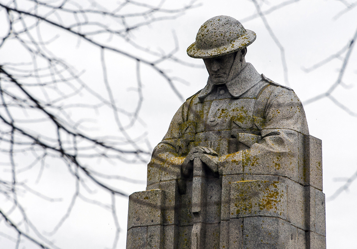 WW1 Canadian Memorial, also known as the 'Brooding Soldier' in St. Julien, Belgium