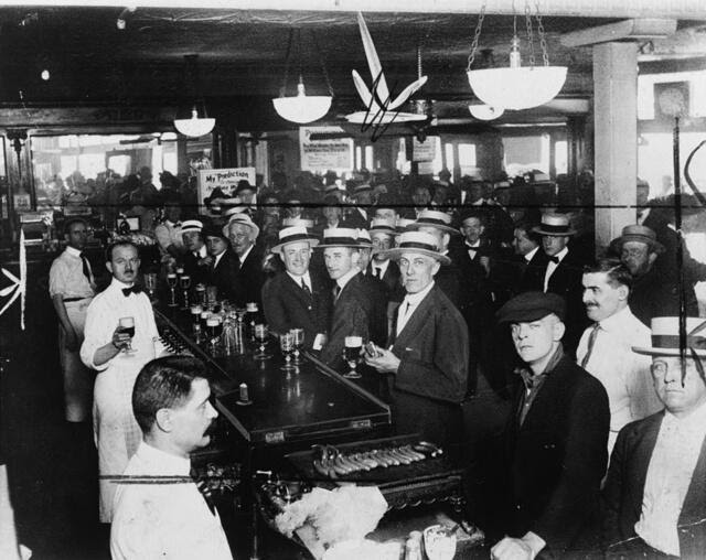 A bar in New York City, the night before Prohibition began, 1920
