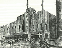 AstraTheatre design sketch, Art Deco, built 1934, demolished