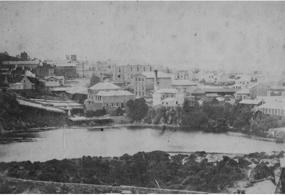 Baakens River in 1860s with wool washing operations visible