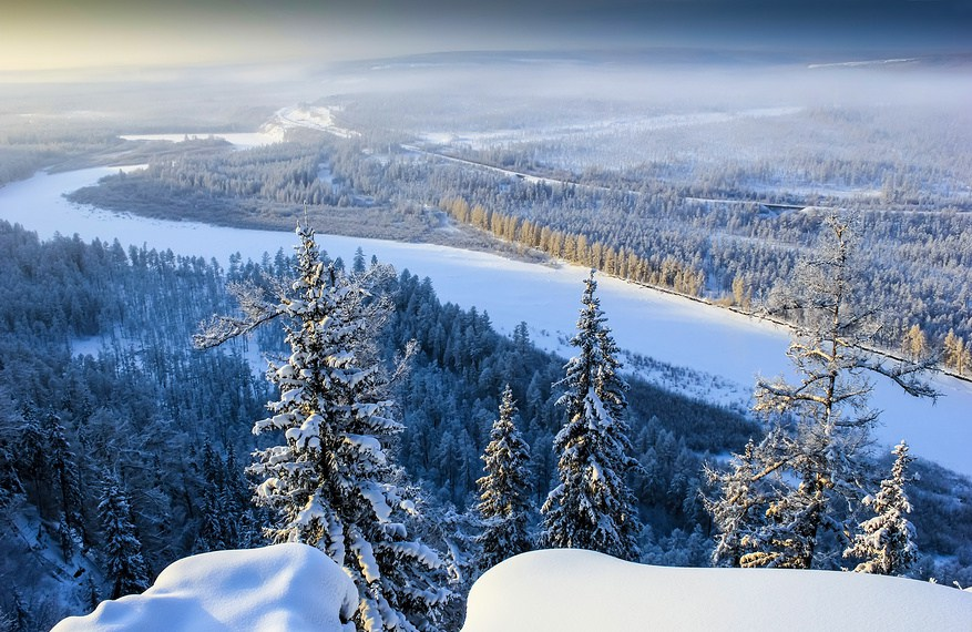 Chulman River Valley in Eastern Siberia in winter
