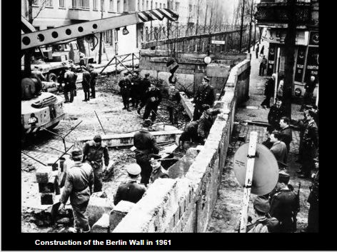 Construction of the Berlin Wall in 1961