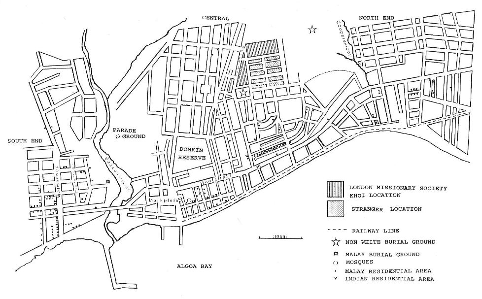 Distribution of non-whites in Port Elizabeth in 1884. Source: G.J. Nel, M.A. Dissertation, UPE, 1987
