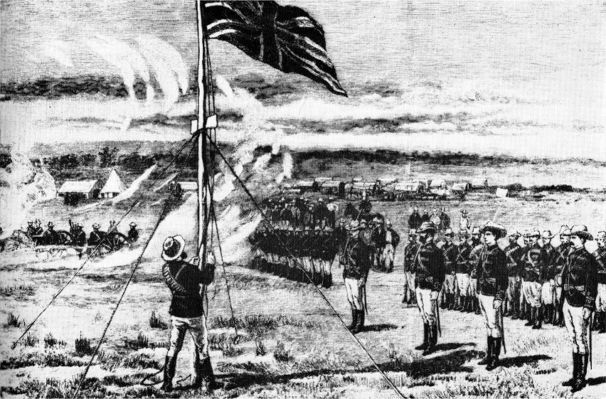 Hoisting the flag at Fort Salisbury