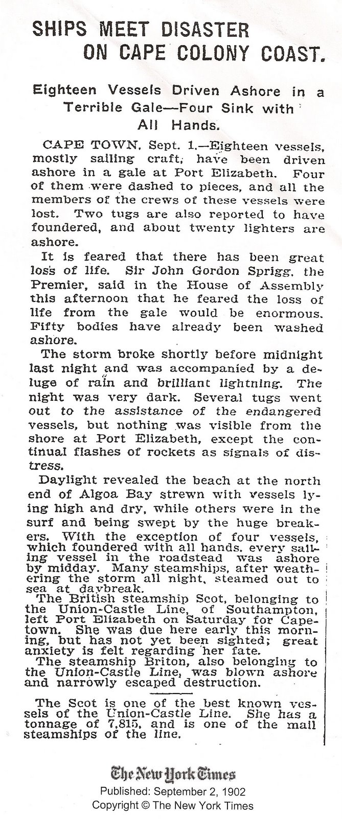 Report in the New York Times on the 1902 Gale in Port Elizabeth