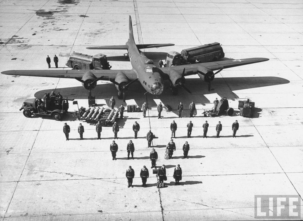 The thirty-six men needed to fly and service a B-17E in 1942