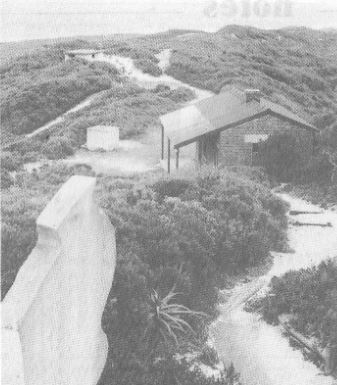 View from the Fortress Observation Post with the Artillery Bungalow on the right and the Radar Tech Hut at far left