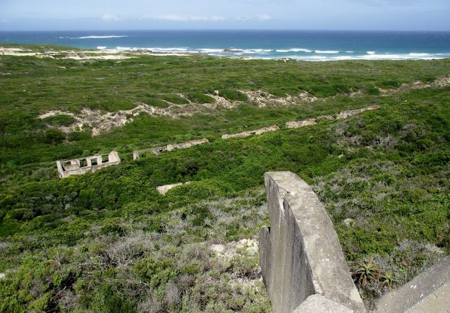 View of the ruins of the barracks from the Forward Observation at Cape Recife