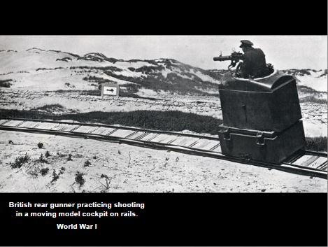 WW1 British rear gunner practicing shooting