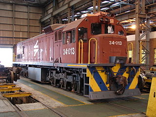 34-013 in Spoornet maroon livery at Swartkops Loco Depot, Port Elizabeth, 20 April 2013