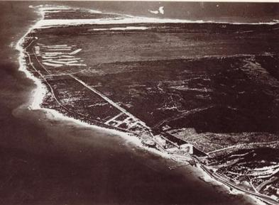 Aerial photo from 1930 showing Noordhoek dunes going right across Cape Recife