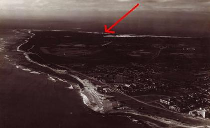 Aerial photo from 1971 showing how dunes had receded