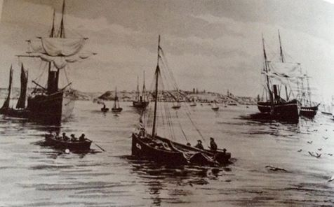 Algoa Bay in 1883 from a watercolour painting by Whately Eliot