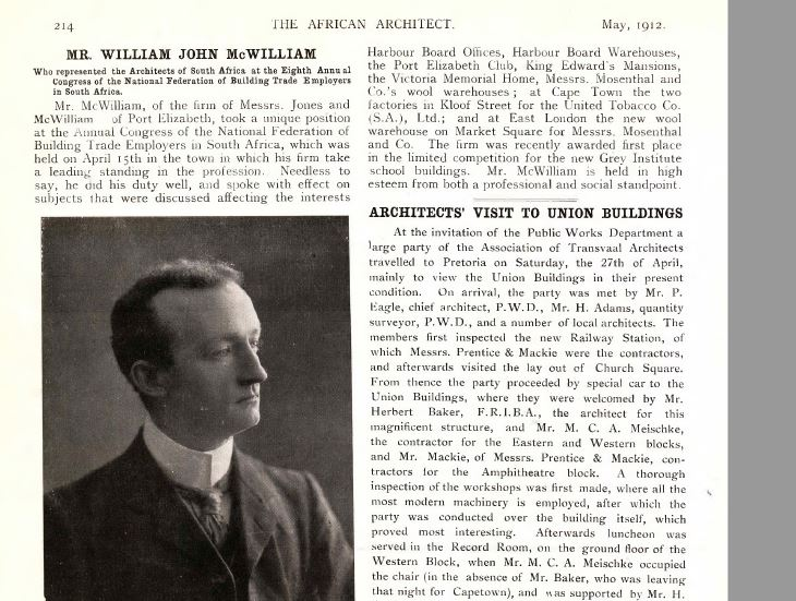 Article dated May 1912 in the African Architect on McWilliams