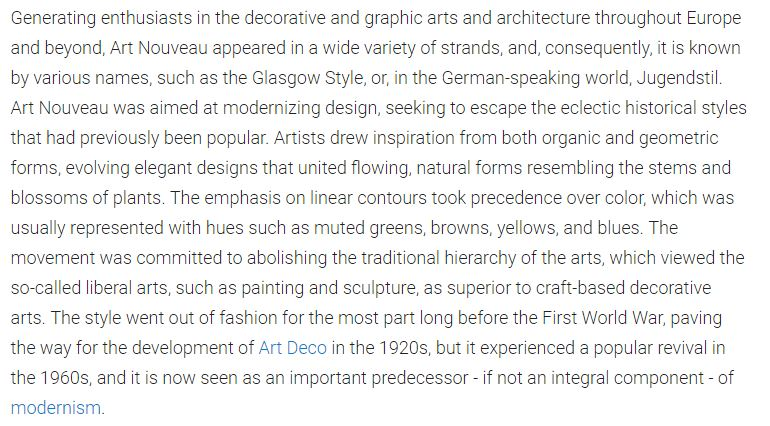 Description of the Art Nouveau Style